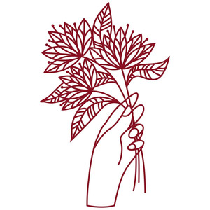 hand holding flowers papercut