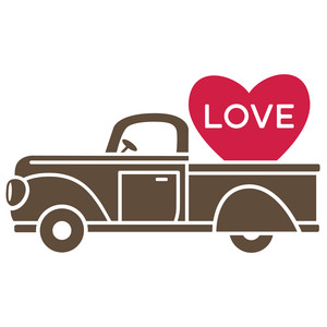 vintage truck - love candy heart