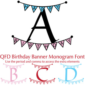 qfd birthday banner monogram font