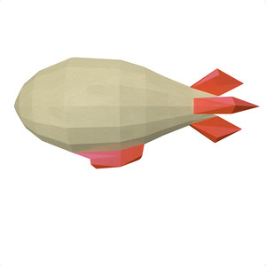 3d airship-balloon low poly