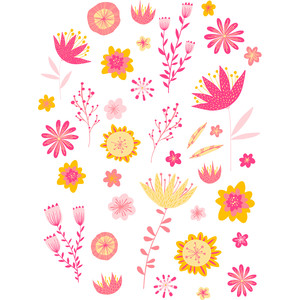 pink and yellow flowers stickers