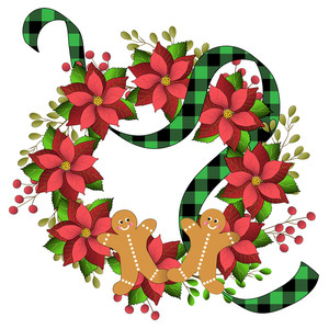 gingerbread, poinsettia christmas wreath