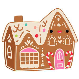 kawaii gingerbread house with candy canes