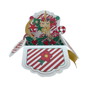 5x7 christmas unicorn pop up card in a box