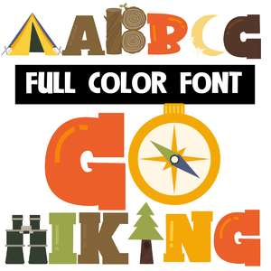 go hiking color font