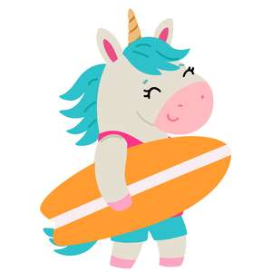 unicorn carrying a surfboard