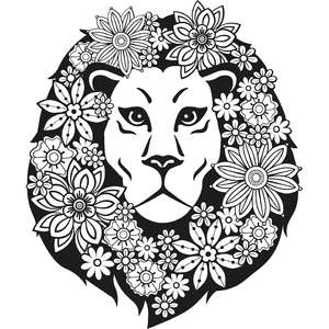 floral lion zentangle