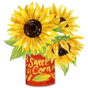 sunflowers in a can watercolor