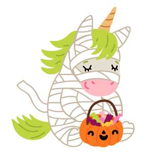 halloween unicorn in mummy costume