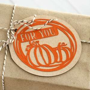 autumn circle folded label, for you