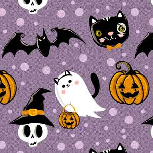 halloween pattern with fabric texture