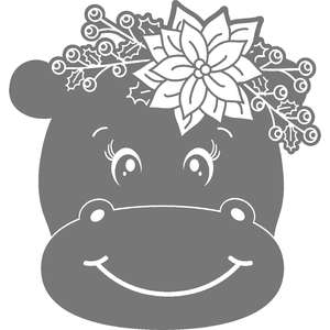 floral christmas hippo