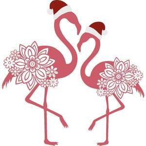 christmas flamingos with santa hats
