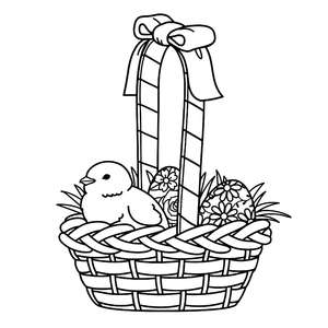 chick in an easter basket