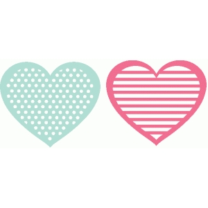 stripe and dot hearts