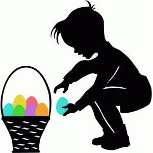 little boy with easter egg silhouette