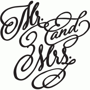 mr and mrs decorative script