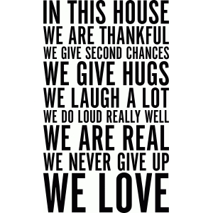in this house vinyl wall art