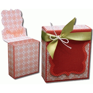 3d bracket label flap over gift box