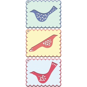 set of bird layered gift tags or labels
