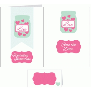 jar of hearts wedding stationery set