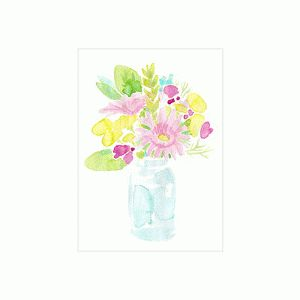 watercolor mason jar bouquet print & frame