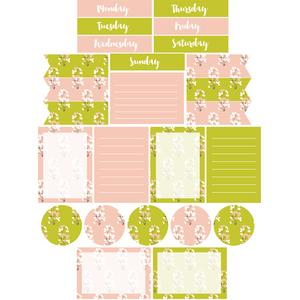 blush and green blooms planner stickers