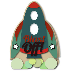 rocket ship shaped a7 card