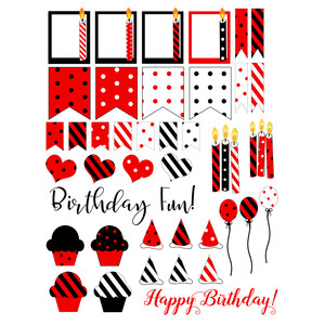 red, black birthday planning stickers