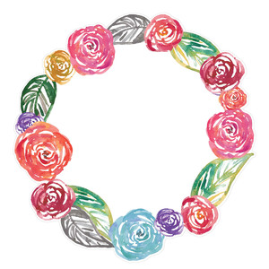 colorful watercolor flower wreath