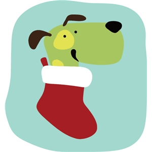 dog in stocking