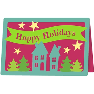 happy holidays houses card