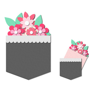 pocket / insert card - flowers pocket