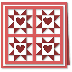 quilt blocks stars hearts 6x6 card