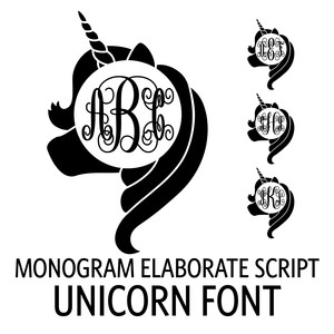 monogram elaborate script - unicorn