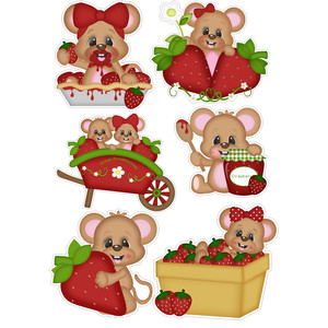 beary sweet mice w strawberries stickers