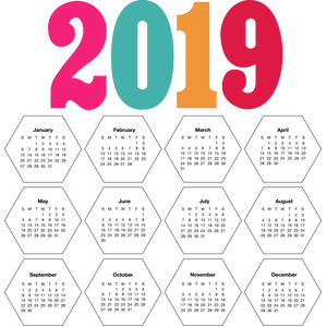2019 calendar hexagons