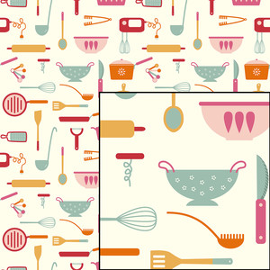 kitchen baking cooking utensils seamless pattern