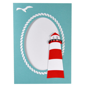 lighthouse summer beach frame with stand