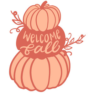welcome fall stacked pumpkins