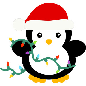 christmas penguin and lights