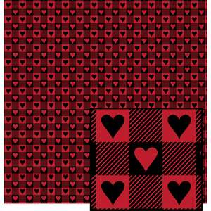 black & red buffalo plaid w/hearts pattern