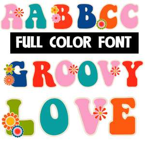 groovy love color font