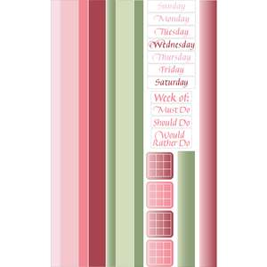 garden pinks days of the week washi sticker border planner tape