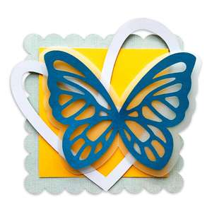 scalloped square with layered butterfly
