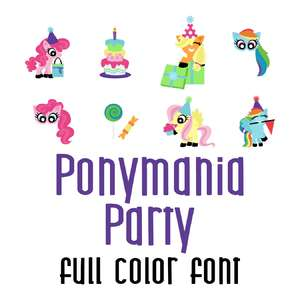 ponymania party full color font