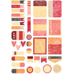 warm watercolor planner stickers