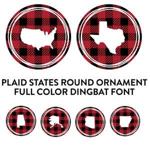 plaid states round ornaments full color dingbat font