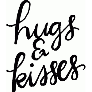 calligraphy hugs & kisses phrase