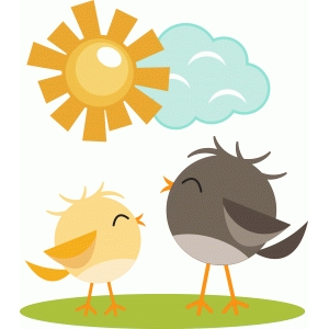 cute birds with sun and cloud